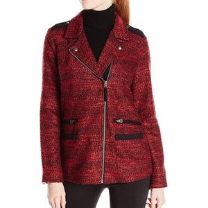Lucky Brand Women's Mixed Moto Jacket Red Black M